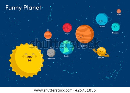 Solar system background with sun and planets on orbit vector - stock vector