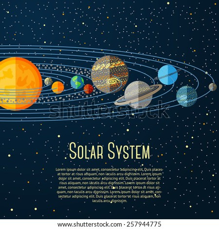 Solar system banner with sun, planets, stars. Vector - stock vector