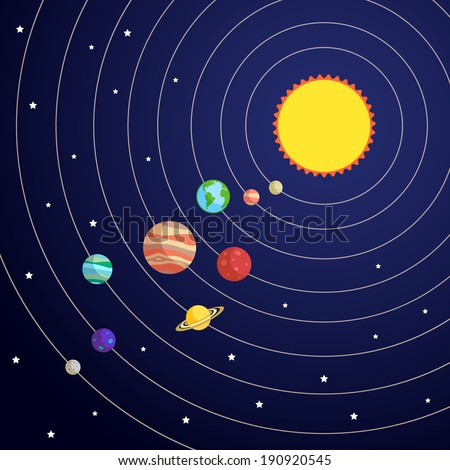 Solar system concept with sun planet orbits and stars on background vector illustration - stock vector