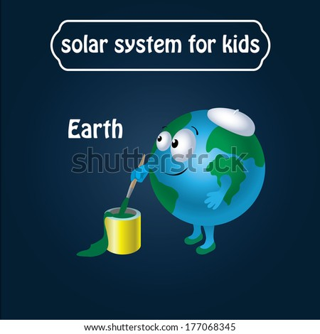 solar system for kids, childrens. Earth in cartooning style. funny, cute. vector illustration.  - stock vector