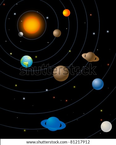 Solar system graphic, abstract art illustration - stock vector