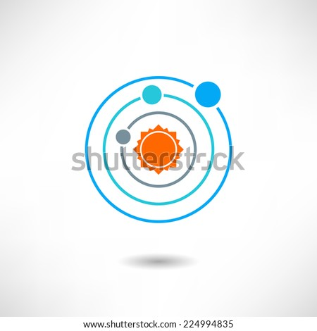 Solar system icon - stock vector