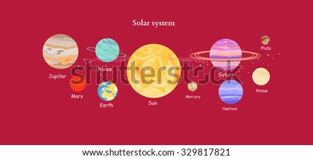 Solar system icon flat design style. Earth planet, space and sun, science astronomy, galaxy and saturn, jupiter and venus, mars and mercury, uranus and neptune illustration - stock vector