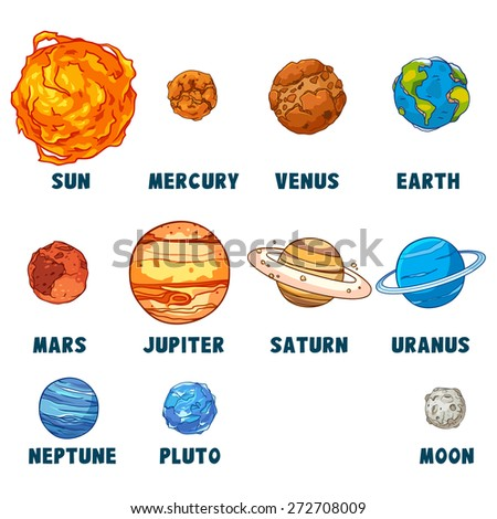 Solar system isolated on white background. - stock vector