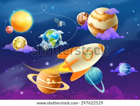 Solar system of planets, vector illustration - stock vector