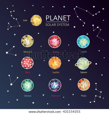 Solar system, Planet , sun, pluto ,Mar, mercury, earth, venus, jupiter, saturn, uranus, neptune - stock vector