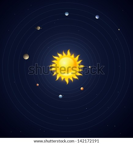 Solar system planets layout - eps10 vector illustration - stock vector