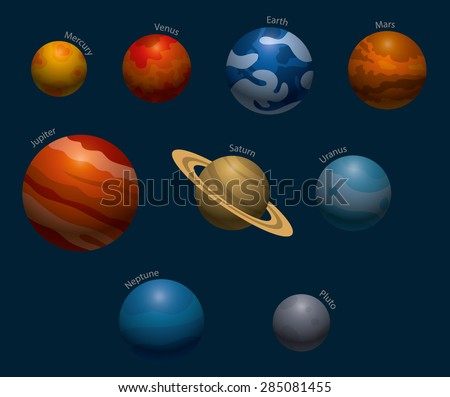 Solar system planets, vector - stock vector
