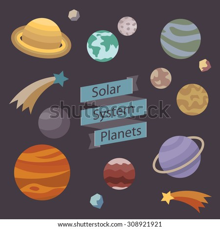 Solar System Planets vector illustration on flat style. Doodling space design elements collection. Banner ribbon and icons of cosmic objects. Fun science background. - stock vector