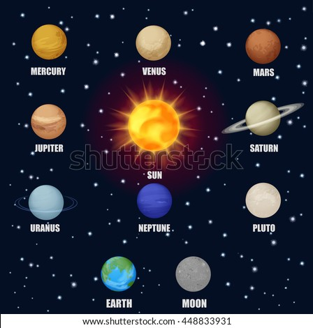 Solar system space planets sun. Astronomical pictograms icons set - stock vector