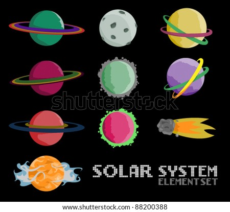 Solar System Space Vector Element Set - stock vector