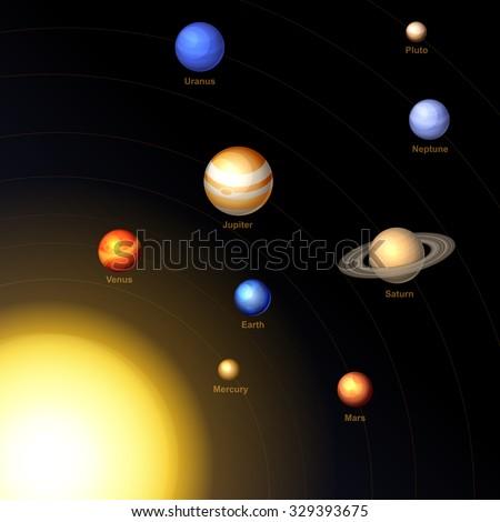 Solar System. Vector - stock vector