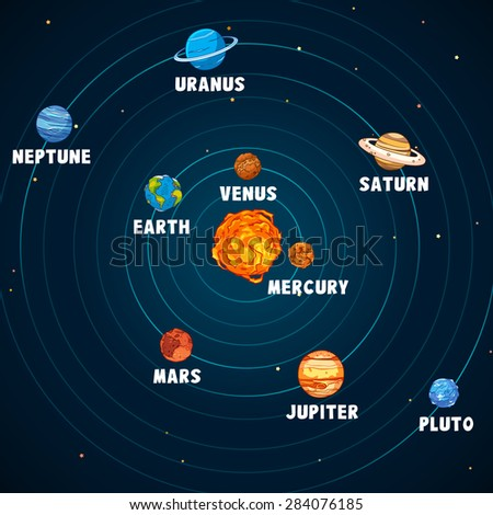 Solar system vector art and illustration. - stock vector