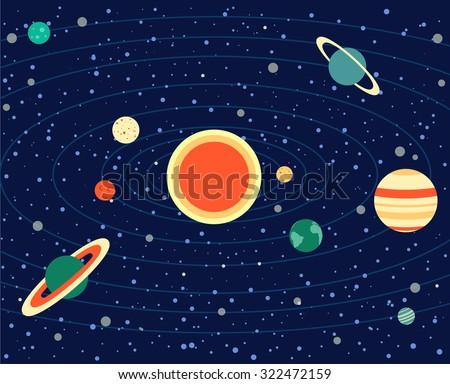 solar system, vector illustration, planets, Sun, Earth, Saturn, Venus, Uranus, Neptune, Pluto, Mars, Mercury, Jupiter - stock vector