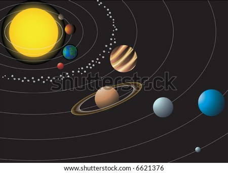 Solar system with nine planets. Vector illustration - stock vector