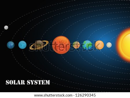 Solar System With Planets Around Sun - Vector illustration, Graphic Design Editable For Your Design - stock vector