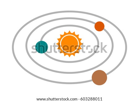 Planet Saturn Planetary Ring System Line Stock Vector ...