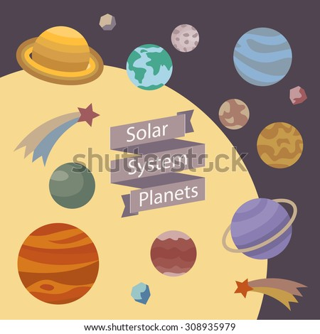 Solar Systen Planets vector illustration on flat style. Space design elements. Banner ribbon and icons of cosmic objects. Fun science background. Comet, meteorite, planets and sun star clip-art. - stock vector