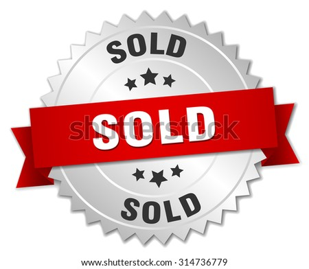 sold 3d silver badge with red ribbon. sold badge. sold. sold sign