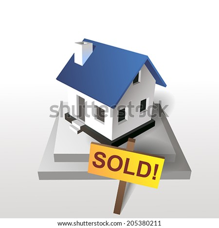 sold house blue - stock vector