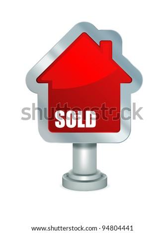 Sold house. Mesh & gradients. - stock vector