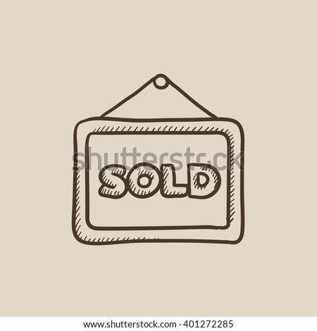 Sold placard sketch icon.