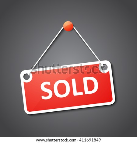 Sold sign - stock vector