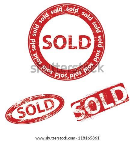 sold stamp set - stock vector