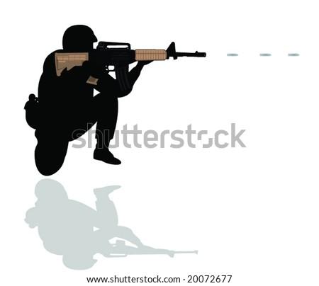 soldier - stock vector