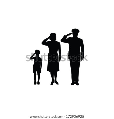 Soldier family salute, isolated, black on white background - stock vector