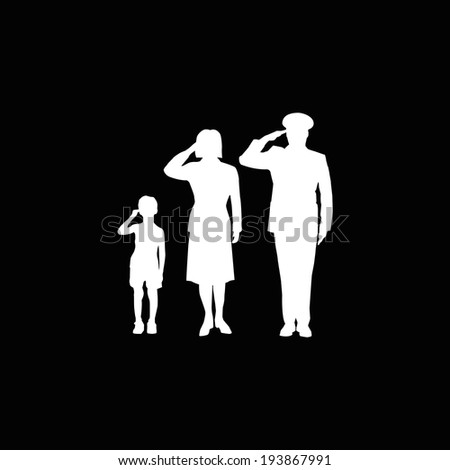 Soldier family salute, isolated, white on black background - stock vector
