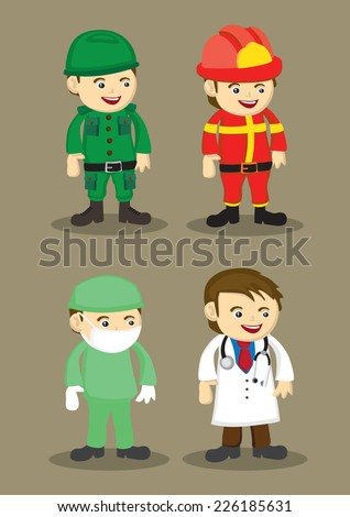 Soldier, firefighter, Surgeon and Doctor in uniform and work attire. Professionals and occupations vector illustration isolated on brown plain background - stock vector