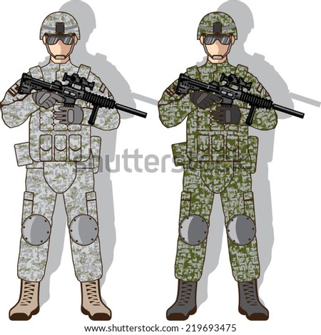 Soldier Full Gear - stock vector