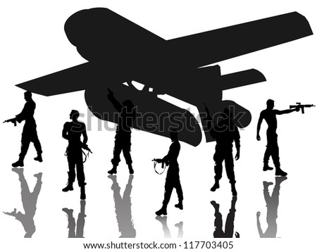 soldier group with airplane silhouette