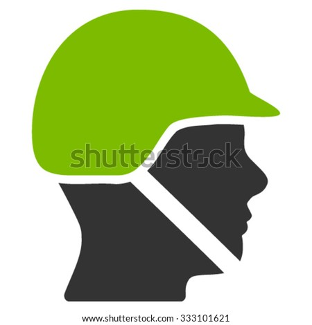 Soldier Helmet vector icon. Style is bicolor flat symbol, eco green and gray colors, rounded angles, white background.