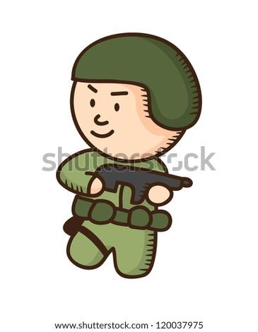 soldier holding gun cartoon - stock vector
