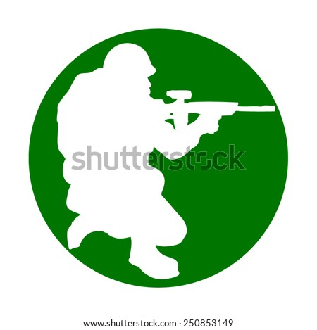 Soldier icon kneel down aiming a weapon  - stock vector