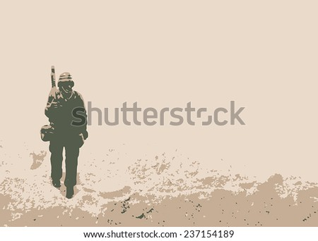 Soldier in a field - stock vector
