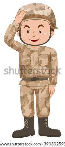 Soldier in brown uniform illustration - stock vector