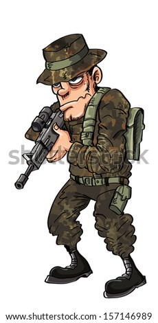 Soldier in green with a rifle. Isolated on white - stock vector