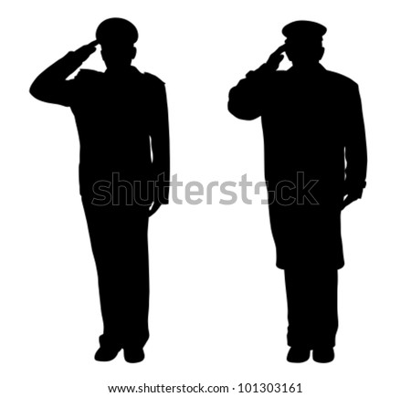 Soldier, officer, captain, policeman, sailor or firefighter saluting (vector) - stock vector