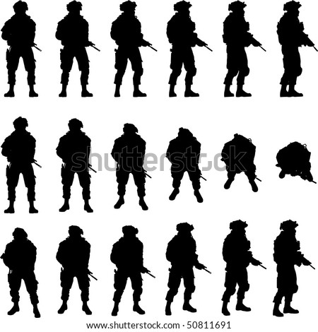 Soldier silhouette in different perspectives, vector - stock vector