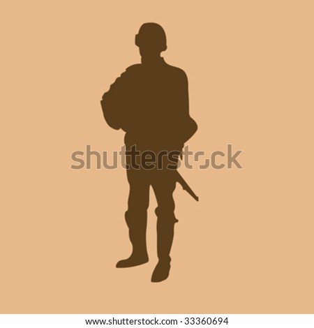 Soldier silhouette on beige background; illustration - stock vector