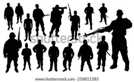 Soldier silhouettes - stock vector