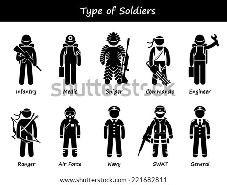 Soldier Types and Class Stick Figure Pictogram Icons - stock vector