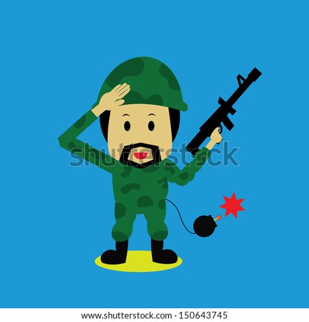 Soldier vector cartoon style for use - stock vector