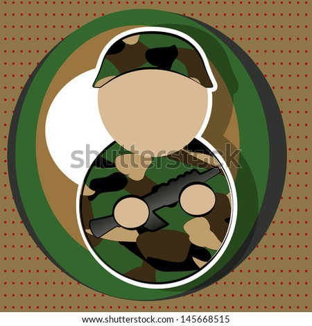 soldier with gun, camouflage uniform, on white background and brown circles with red dots. - stock vector