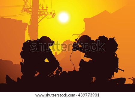 Soldier with medics - stock vector