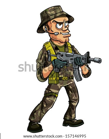 Soldier with sub machine gun. Isolated on white - stock vector