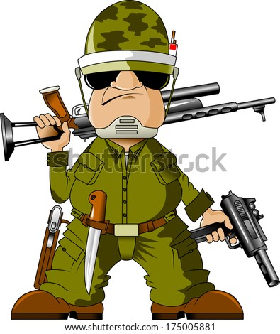 Soldiers armed with sub-machine gun and knife, vector - stock vector